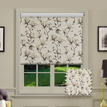 Grey Flower Roller Blind Patterned Blackout Magnolia Inky Fabric